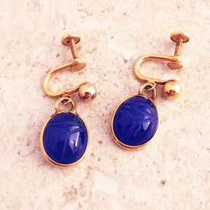 Vintage 50's Blue Scarab GF Earrings